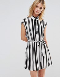 Style London Shirt Dress In Stripe Black White