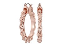 Guess Twisted Cable Hoop Earrings Rose Gold White Earring Pink