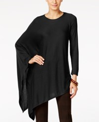Alfani Knit Asymmetrical Poncho Only At Macy's Deep Black