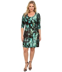 Karen Kane Plus Plus Size 3 4 Sleeve T Shirt Dress Print Women's Dress Multi