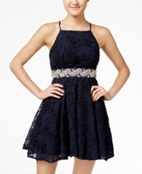 Trixxi Juniors' Embellished Soutache Fit And Flare Dress Navy