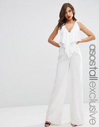 Asos Tall Exclusive Jumpsuit With Waterfall Front Ivory White
