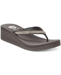 Yellow Box Venus Wedge Flip Flops Women's Shoes Black Clear