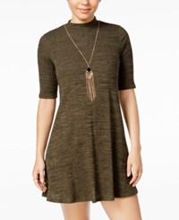 Amy Byer Bcx Juniors' Mock Turtleneck Necklace Shift Dress Olive Black