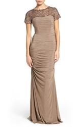La Femme Women's Embellished Lace And Jersey Gown