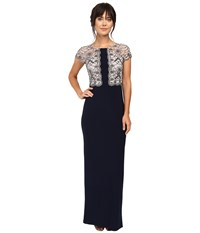 Adrianna Papell Short Sleeve Beaded Bodice Jersey Gown Silver Midnight Women's Dress Black