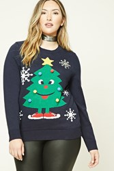 Forever 21 Plus Size Holiday Tree Sweater Navy Green