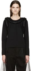 Noir Kei Ninomiya Black Long Sleeve Frilled Bows T Shirt