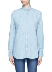 Rag And Bone Heart Embroidered Cotton Chambray Boyfriend Shirt Blue