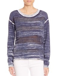 Feel The Piece Blaise Open Knit Long Sleeve Pullover Navy