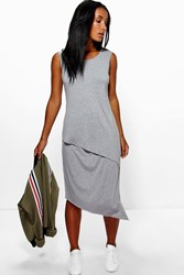 Boohoo Wrap Front Sleeveless Midi Dress Grey