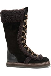 See By Chloe Shearling Trimmed Suede Boots Black