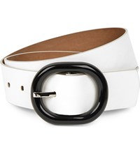 Michael Kors Oval Buckle Leather Belt White Black