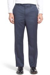 John W. Nordstrom Flat Front Solid Wool Trousers Blue
