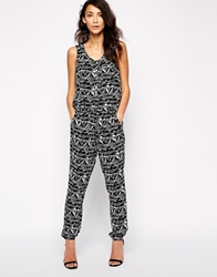 Only Solero Geo Tribal Print Sleeveless Jumpsuit Blackwaztec