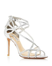 Badgley Mischka Crystal Braided Strappy High Heel Sandals Silver