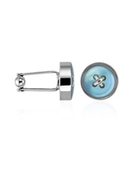Forzieri Blue Button Mother Of Pearl Silver Plated Cufflinks Sky Blue