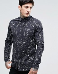 Dr. Denim Dr Jonathan All Over Oil Print Shirt In Black Black Oil