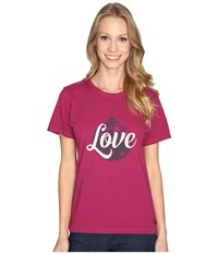 Life Is Good Love Ornament Crusher Tee Wild Plum Women's T Shirt Burgundy