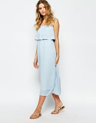 Darccy Cami Layered Maxi Dress With Embellished Neckline Cream