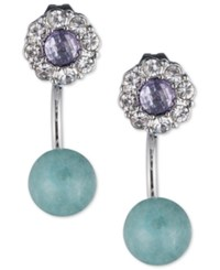 Lonna And Lilly Silver Tone Crystal Blue Stone Front Back Earrings