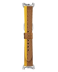 Fendi Sunflower And Mou Leather Selleria Watch Strap 18Mm Brown Yellow