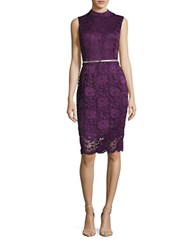 Ellen Tracy Belted Lace Sheath Dress Plum