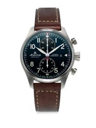 Alpina Sapphire Crystal Leather Strap Watch Brown Navy