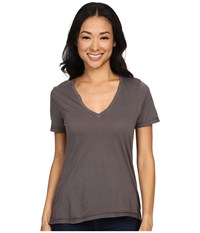 The Beginning Of Olivia V Neck High Low Tee Graphite Women's Short Sleeve Pullover Gray