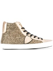Philippe Model Glitter Effect Hi Top Sneakers Metallic