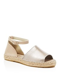 Kenneth Cole Sammy Embossed Metallic Espadrille Flats Silver Sand
