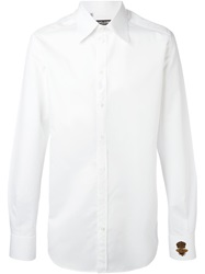 Dolce And Gabbana Beaded Crown And Bee Patch Shirt White