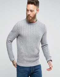 Asos Cable Knit Jumper With Chunky Rib Detail Grey