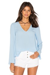 Eight Sixty Long Sleeve V Neck Blouse Blue
