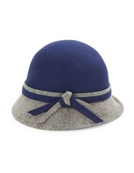 Giovannio Knot Accent Wool Cloche Navy Blue