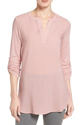 Pleione Petite Women's Split Neck Mixed Media Tunic Pink Smoke