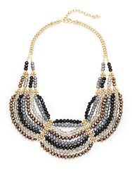 Saks Fifth Avenue Handmade Goldplated Scallop Beaded Tiered Necklace Gold Grey