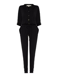 Michael Kors Long Sleeved Button Up Jumpsuit Black Gold