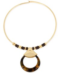 Robert Lee Morris Soho Gold Tone Faux Tortoiseshell Statement Necklace