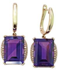 Effy Collection Lavender Rose By Effy Amethyst 13 3 4 Ct. T.W. And Diamond 1 4 Ct. T.W. Drop Earrings In 14K Gold