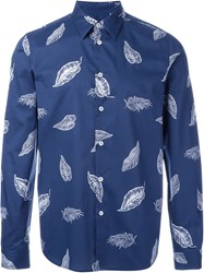 Ps Paul Smith Feather Print Shirt Blue