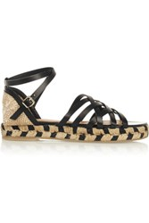Castaner Rita Leather And Canvas Espadrille Sandals Black