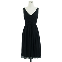 J.Crew Petite Heidi Dress In Silk Chiffon Black