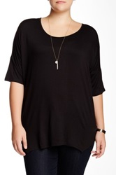 Bobeau Scoop Neck Oversized Tee Plus Size Black