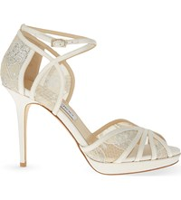 Jimmy Choo Fable 100 Satin And Lace Heeled Sandals Ivory White