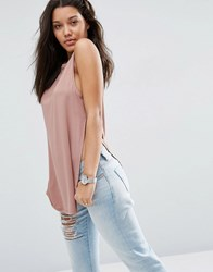 Asos The Sleeveless Longline Top With Side Split Fawn Pink
