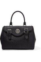 Hill And Friends Happy Ostrich Effect Leather Tote Midnight Blue