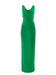 Anoushka G Carla Cowl Front And Back Maxi Jersey Dress Green