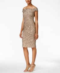 Adrianna Papell Off The Shoulder Sequined Dress Antique Bronze