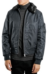Topman Aviator Jacket With Removable Faux Fur Collar Navy Blue Multi